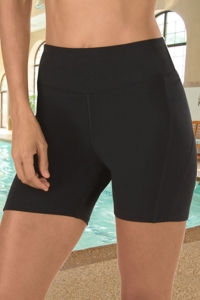 Chlorine Resistant Aquamore Solid Black Fitted Swim Short