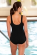 Chlorine Resistant Aquamore Solid Black High Neck One Piece