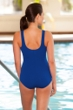 Chlorine Resistant Aquamore Solid Blue High Neck One Piece