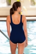 Chlorine Resistant Aquamore Solid Navy High Neck One Piece