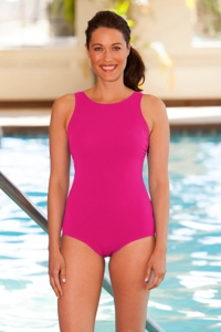 Chlorine Resistant Aquamore Pink High Neck One Piece Swimsuit