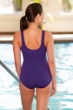 Chlorine Resistant Aquamore Solid Purple High Neck One Piece