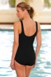 Chlorine Resistant Aquamore Solid Black Scoop Neck One Piece
