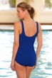 Chlorine Resistant Aquamore Solid Blue Scoop Neck One Piece