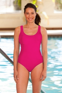 Chlorine Resistant Aquamore Pink Scoop Neck One Piece Swimsuit