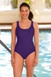Chlorine Resistant Aquamore Soho Purple Scoop Neck One Piece Swimsuit