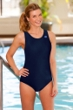 Chlorine Resistant Aquamore Solid Navy Racerback One Piece