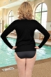 Chlorine Resistant Aquamore Black Long Sleeve Zip Up Rashguard