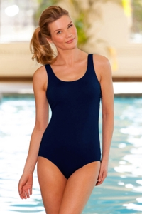 Chlorine Resistant Aquamore Navy Scoop Neck One Piece Swimsuit