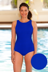 Aquamore Chlorine Resistant Azure High Neck One Piece Textured Swimsuit