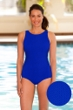 Aquamore Chlorine Resistant High Neck One Piece Textured Swimsuit