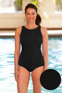 Aquatex by Aquamore Chlorine Resistant Black High Neck One Piece Textured Swimsuit
