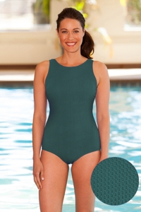 Aquamore Chlorine Resistant Hunter High Neck One Piece Textured Swimsuit