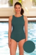 Aquatex by Aquamore Chlorine Resistant Hunter High Neck One Piece Textured Swimsuit