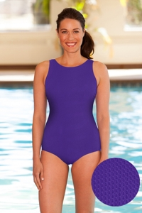 Aquamore Chlorine Resistant Purple High Neck One Piece Textured Swimsuit