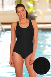 Aquatex by Aquamore Chlorine Resistant Black Scoop Neck One Piece Textured Swimsuit