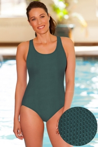Aquatex by Aquamore Chlorine Resistant Hunter Scoop Neck One Piece Textured Swimsuit