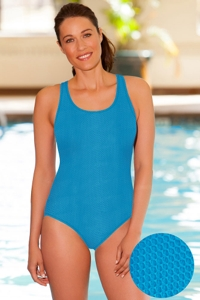Aquamore Chlorine Resistant Scoop Neck One Piece Textured Swimsuit