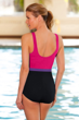 Chlorine Resistant Aquamore Pink Color Block High Neck One Piece Swimsuit