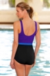 Chlorine Resistant Aquamore Purple, Sky and Black High Neck One Piece