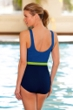 Chlorine Resistant Aquamore Sky, Mojito and Navy Color Block Scoop Neck One Piece Swimsuit