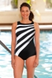 Chlorine Resistant Aquamore Black and White Spliced Color Block High Neck One Piece Swimsuit