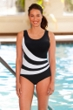 Chlorine Resistant Aquamore Black and White Spliced Color Block Scoop Neck One Piece Swimsuit