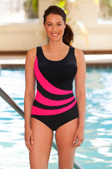 Chlorine Resistant Aquamore Pink and Black Spliced Color Block Scoop Neck One Piece Swimsuit