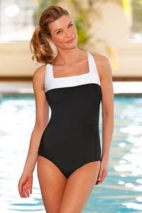 Chlorine Resistant Aquamore White Block Square Neck One Piece