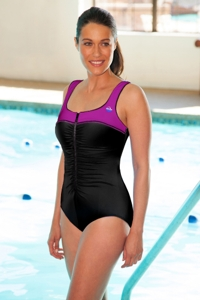 Chlorine Resistant Aquamore Berry Block Zipper One Piece Swimsuit