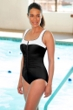 Chlorine Resistant Aquamore White Block Zipper One Piece Swimsuit