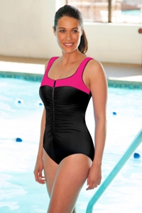 Chlorine Resistant Aquamore Pink Zip Front Color Block One Piece Swimsuit
