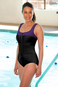 Chlorine Resistant Aquamore Purple and Black Zip Front Color Block One Piece Swimsuit