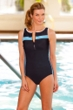 Chlorine Resistant Aquamore Blue Stripes Zip Front High Neck One Piece Swimsuit