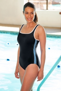 Chlorine Resistant Aquamore Blue Side Stripes Racer Scoop Neck One Piece Swimsuit