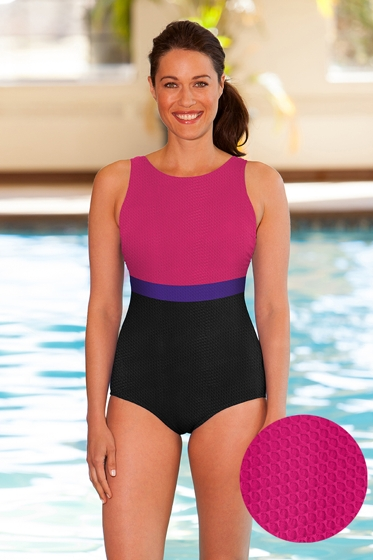 Aquatex by Aquamore Chlorine Resistant Pink, Purple and Black Color Block High Neck One Piece Textured Swimsuit