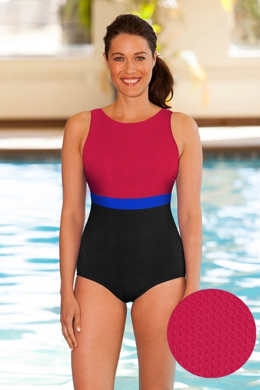 Chlorine Resistant Aquamore Textured High Neck One Piece Swimsuit