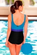 Aquatex by Aquamore Chlorine Resistant Color Block Sea, Azure and Black High Neck One Piece Textured Swimsuit