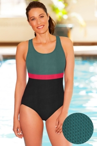 Aquatex by Aquamore Chlorine Resistant Color Block Hunter, Raspberry and Black Scoop Neck One Piece Textured Swimsuit