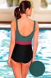 Aquamore Chlorine Resistant Color Block Hunter, Raspberry and Black Scoop Neck One Piece Textured Swimsuit