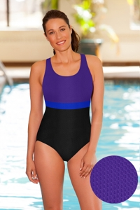 Aquamore Chlorine Resistant Color Block Scoop Neck One Piece Textured Swimsuit