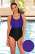 Aquatex by Aquamore Chlorine Resistant Purple, Azure and Black Color Block Scoop Neck One Piece Textured Swimsuit