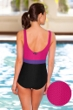 Aquatex by Aquamore Chlorine Resistant Pink, Purple and Black Color Block Scoop Neck One Piece Textured Swimsuit