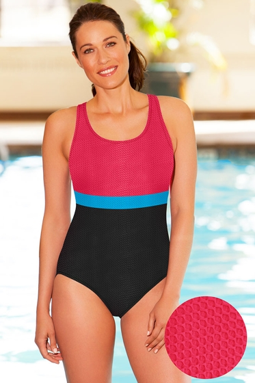 Aquamore Chlorine Resistant Color Block Raspberry, Sea and Black Scoop Neck One Piece Textured Swimsuit