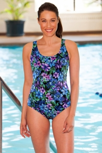 Chlorine Resistant Aquamore Mai Tai Scoop Neck One Piece Swimsuit