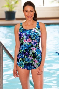 Chlorine Resistant Aquamore Mai Tai Sarong Front One Piece