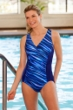 Chlorine Resistant Aquamore Synergy Mock Surplice V-Neck One Piece