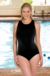 Chlorine Resistant Aquamore Solid Black DD-Cup High Neck One Piece