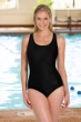 Chlorine Resistant Aquamore Solid Black DD-Cup Scoop Neck One Piece