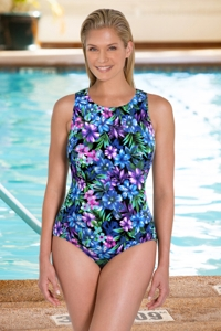 Chlorine Resistant Aquamore Mai Tai DD-Cup High Neck One Piece